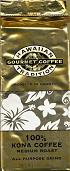 Hawaiian Tradition 7oz - 100% Kona gourmet coffee - Medium roast. All purpose grind