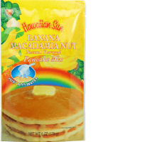 Hawaiian Sun pancake mix all natural flavored Banana Macadamia nut.
