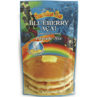 Hawaiian Sun pancake mix all natural flavored blueberry acia.