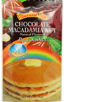 Hawaiian Sun pancake mix all natural flavored Chocolate Macadamia nut.