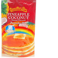 Hawaiian Sun pancake mix all natural flavored Pineapple Coconut.
