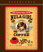 Hula Girl Freeze Dried Granulated Instant Kona Coffee in a lightweight resealable pouch. Net Weight 1.75 oz.