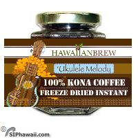 Hawaiian Brew Ukulele Melody 100% Kona Freeze Dried Instant coffee. This is a very popular Hawaiian themed gift found in Hawaiian Duty Free Shops and Neiman Markus. It is packaged in a 1.5 oz. Glass Bottle. Each 1.5 oz bottle yields approx. 25 cups of coffee.