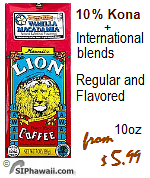 Lion Coffee. 100% and 10% Kona coffee International blends. Regular, Flavors, Decaf.