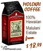 Molokai Coffee from the Hawaiian Island of Molokai. Coffees of Hawaii Medium and Dark roast Muleskinner coffee.