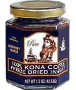 THE ORIGINAL Granulated Instant Kona Coffee from Mulvadi Hawaii in a glass jar. Net Weight 1.5 oz