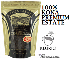 Hualalai Premium Estate Kona Coffee, Grown on the fertile slopes of the Hualalai volcano on the Big Island of Hawaii. Medium Dark Roast, Pesticide Free 100% Kona Grown and Hawaiian Coffees.