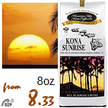 Hawaiian Isles Coffee Kona Coffee Classic and Sunrise, Tropical flavored coffees and Decaffeinated coffees - Mix and Match.