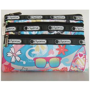 LeSportsac 3 Zip Cosmetic Bag or Wallet Surf's UP beach scenery Hawaii Exclusive