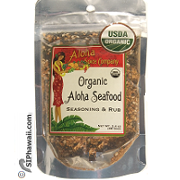 Aloha Spice Company USDA Organic Seafood Seasoning and Rub in re-sealable pouch 2.4 ounces. For Kitchen and BBQ. Made in Kauai - Hawaii.