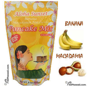 Aloha Sunset Pancake Mix Banana Macadamia Nut flavor.