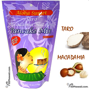 Aloha Sunset Pancake Mix Taro Macadamia Nut flavor. The taro and macadamia creates a terrific aroma, light and fluffy, and both of the flavors blend right into the pancake. These don't really need syrup, since they taste great on their own.