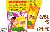 Aloha Sunset Foods Pancake Mix all macadamia nut flavors - By the case and single packs