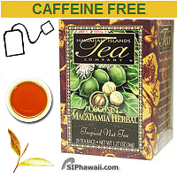 Hawaiian Islands Coconut Macadamia Rooibos Herbal Tea, 100% caffeine-free Tropical Nut Tea. Macadamia Nut, considered by some to to be the world's finest nut, and Coconut combine with herbal Rooibos to make this fragrant, flavorful and satisfying tropical herbal tea with rich nutty flavors.
