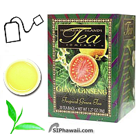 Hawaiian Islands Tea Company Herbal Guava Ginseng Green Tea. Antioxidant rich to battle nasty free radicals, increase stamina and improve one's quality of life. Box 20 individually sealed tea bags.