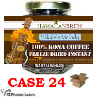 """Ukulele Melody""100% Instant Kona Coffee freeze dried granulated - Case 24"