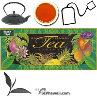 Hawaiian Islands Tea Company, Artistry in Tea. Shrink wrapped Gift Set or sampler with 3 assorted tropical flavored all natural fruity black teas. Box 18 individually sealed tea bags.