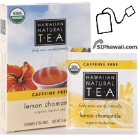Hawaiian Natural Tea, Lemon Chamomile Caffeine Free Organic Certified. Chamomile aids relaxation and sleep. 8 Tea bags.