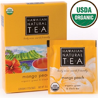 Hawaiian Natural Tea, USDA Organic Certified Green and Black Tea. Mango Peach. Fruity and well balanced with alluring sweetness and aroma. 8 Tea bags.