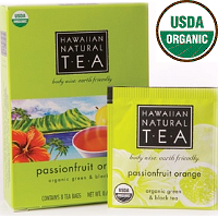 Hawaiian Natural Tea, USDA Organic Certified Green and Black Tea. Passion fruit Orange. Playful and refreshing from a splash of orange citrus. 8 Tea bags.