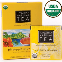 Hawaiian Natural Tea, USDA Organic Certified Green and White Tea. Strawberry Pineapple. Soothing and sumptuous low caffeine blend. 8 Tea bags.