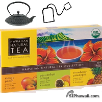 Hawaiian Natural Tea Collection Gift Set. 24 bags 3x8 assorted teas. A medley of fine aromas that belongs in every tea chest.