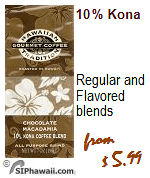 Hawaiian Tradition Coffee Regular and Flavored Kona Coffee blends.