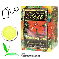 Hawaiian Islands Tea Company Hibiscus Honey Lemom Tropical Green Tea. A special blend of fragrant Hibiscus flowers, Japanese style green tea, with honey and lemon flavors, creates a refreshing amber colored tropical tea. Box 20 individually sealed tea bags.