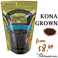 Kona Grown Coffee APG All purpose ground -APG, Medium Dark Roast. 100% Hawaiian Coffee roasted and packed by Hulalai Estate. This price-conscious coffee, these beans are grown as Kona coffee, but once milled, are too small to make our cut to be called Kona Coffee. The beans are smaller, but because they are separated from Kona Coffee before roasting, they are given their own roasting techniques to bring out their own unique flavors. This Hawaiian coffee is significantly better than most other Hawaiian coffees out there because it was grown in the Kona District on the Big Island of Hwaii where the climate and soil produces a more flavorful coffee.