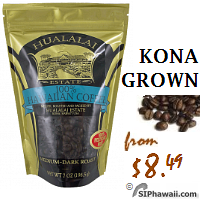 Kona Grown Coffee WHOLE BEAN. 100% Hawaiian Coffee roasted and packed by Hulalai Estate. This price-conscious coffee, these beans are grown as Kona coffee, but once milled, are too small to make our cut to be called Kona Coffee. The beans are smaller, but because they are separated from Kona Coffee before roasting, they are given their own roasting techniques to bring out their own unique flavors. This Hawaiian coffee is significantly better than most other Hawaiian coffees out there because it was grown in the Kona District on the Big Island of Hwaii where the climate and soil produces a more flavorful coffee.