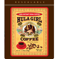 Discover the powerful taste of Hula Girl 100% Kona Hawaiian Instant Coffee, famous for its highly aromatic and smooth flavor. Hawaiian freeze dried and made from the finest Kona Coffee beans. Use 1-2 teaspoons per cup of hot water and stir. Contents 1.75 oz or 50 gram.  Makes around 30 cups. In a handy Lightweight Resealable Pouch for on the go and trips.