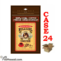 Hula Girl 100% Instant Kona Coffee freeze dried granulated - Case 24