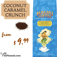 Add touch of coconut, caramel and macadamia nut to distinctly crafted Koloa Estate Coffee beans and you have a delectable blend with a touch of whimsy and always bold character. This is our most popular flavored coffee.