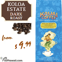 Producing a vivid aroma with nutty notes and hints of sweet chocolate overtones, Kauai's Koloa Estate Dark Roast Whole Bean Coffee is characterized by a richness you'll want to sip and savor. Each cup is a truly satisfying experience.
