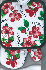 Hawaiian KITCHEN MITT SETS - Hibiscus - 100% Cotton - 1 tea towel, 1 oven mitt, 1 pan holder - Red Hisbiscus, Hawaii State Flower -