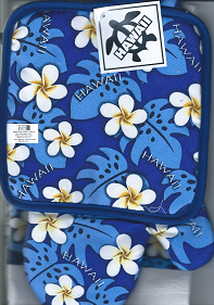 Hawaiian KITCHEN MITT SETS - Blue Hawai'i - 100% Cotton - 1 tea towel, 1 oven mitt, 1 pan holder - 'a little aloha for your kitchen' -