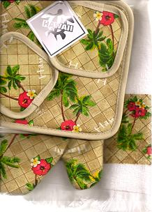 Hawaiian KITCHEN MITT SETS - Palms - 100% Cotton - 1 tea towel, 1 oven mitt, 1 pan holder - 'a little aloha for your kitchen' -