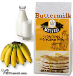 Hawaiian Buttermilk Pancake mix by Mulvadi Gourmet. Regular Unflavored and Tropical Flavors.