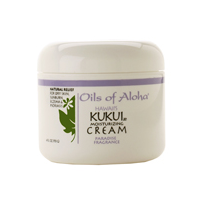 Kukui Moisturizing Cream. An all over body cream. Paradise Fregrance by Oils of Aloha. A refined aroma with a slightly citrus zest and a hint of a floral blend.