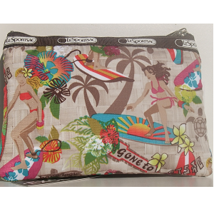 LeSportsac 3 Zip Cosmetic Bag Surfer Chick Surfing Paradise North Shore Oahua Hawaii