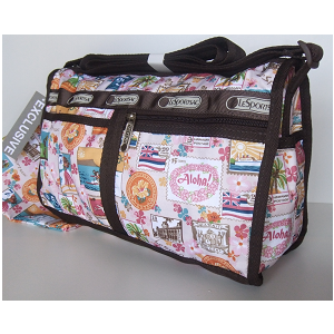 LeSportsac Hawaii Exclusive LEI ALOHA Vintage Stamps DeLuxe Shoulder Satchel - Purse.