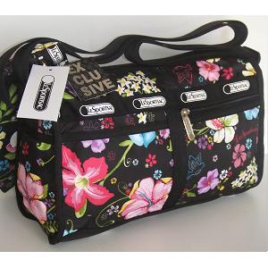 LeSportsac Hawaii Exclusive TROPICAL FLORAL DeLuxe Shoulder Satchel - Purse.