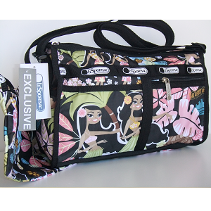 LeSportsac Hawaii Exclusive WAHINE HULA GIRLS DeLuxe Shoulder Satchel - Purse.