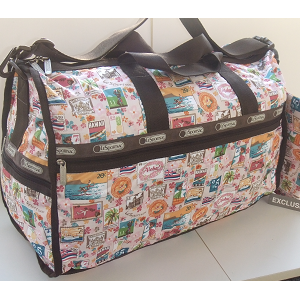 LeSportsac LEI ALOHA Vintage Stamps -  Hawaii Exclusive print. Large WEEKENDER - Carry on Bag / Duffel - Sports bag.