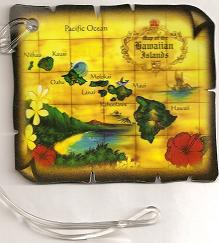 Hawaiian LUGGAGE TAGS - Map of the Hawaiain Islands Anno 1776 - 'a Little Aloha for your travel gear'