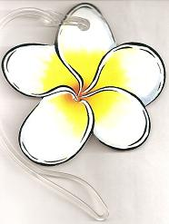 Hawaiian LUGGAGE TAGS - Plumeria - 'a Little Aloha for your travel gear'
