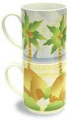 Hawaiian COFFEE MUGS - Coffee for 2 - Stackable Duo porcelain mugs with Hawaiian decorations - Beach Life -