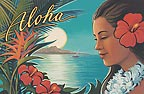 Aloha Moonrise - MAGNETS - 'A Little Aloha for your Fridge' - SOUVENIRS and COLLECTORS ITEMS - Hawaiian Artesian and vintage magnets - contemporary magnets -