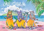 Hula Girl Cats - MAGNETS - A Little 'Spirit of Aloha' for your home - Hawaiian magnets -