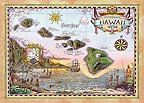 Map of Old Hawaii - MAGNETS - A Little 'Spirit of Aloha' for your home - Hawaiian magnets -